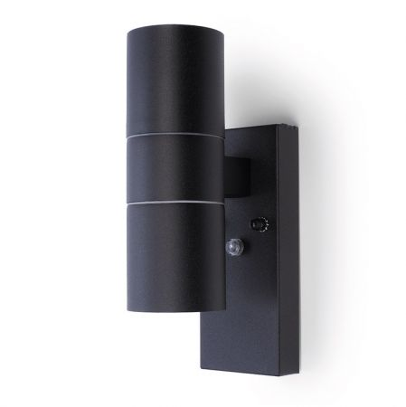 Hispec Up and Down Wall Light with Photocell Sensor Black | HSLEDUL/PC/BLK