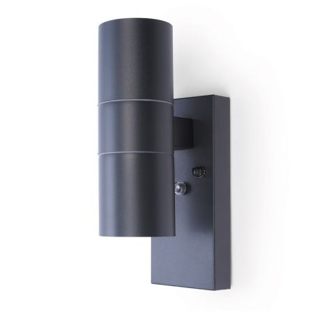 Hispec Up and Down Wall Light with Photocell Sensor Anthracite Grey | HSLEDUL/PC/GRY