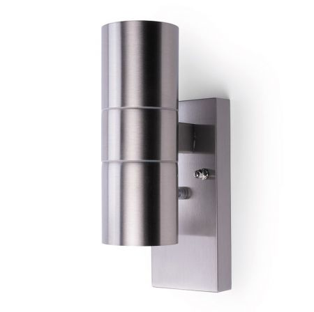 Hispec Up and Down Wall Light with Photocell Sensor Stainless Steel | HSLEDUL/PC