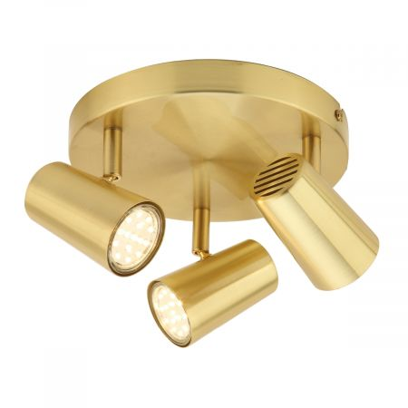 Inlight Harvey 3 Light GU10 Spotlight Plate Satin Brass | INL-31776-SBRS