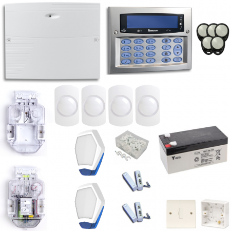 Texecom Premier Elite Burglar Alarm System With Satin Chrome Surface Mount Keypad