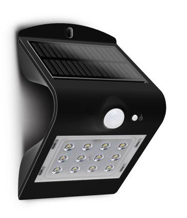 Luceco Guardian 1.5W LED IP65 Solar PIR 220LM Wall Light Black | LEXS22B40