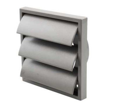 "4"" 100mm Wall Grill - Gravity shutter - Grey"