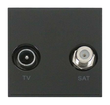 Click New Media Diplexed TV and Satellite Sockets Black MM425BK