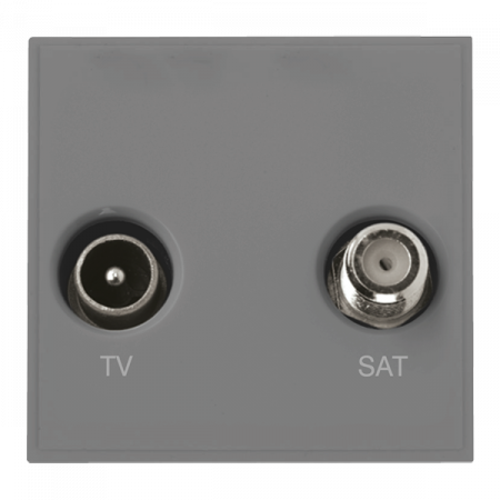 Click New Media Diplexed TV and Satellite Socket Module Grey | MM425GY