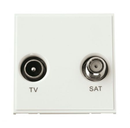 Click New Media Diplexed TV and Satellite Sockets White MM425WH