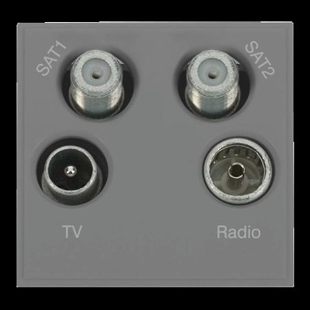 Click New Media Quad TV, Radio, Sat 1 & Sat 2 Module Grey | MM440GY