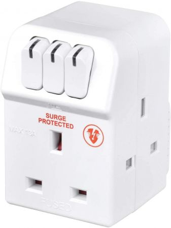 Masterplug 13A Individually Switched Surge Protected Adaptor   MSWRG3