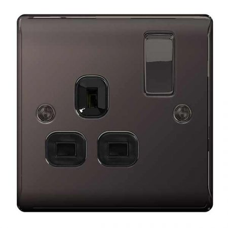 BG Nexus Metal Black Nickel 13A 1 Gang Switched Plug Socket   NBN21B