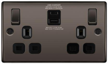 BG Nexus Black Nickel 13A Socket with 30W Type A + C USB Black Insert | NBN22UAC30B
