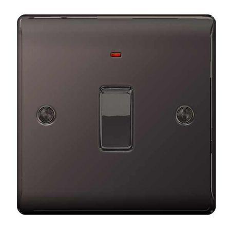 BG Nexus Metal Black Nickel 20A Double Pole Switch & Neon | NBN31
