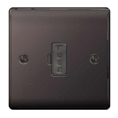 BG Nexus Metal Black Nickel 13A Unswitched Spur & Flex Outlet   NBN55