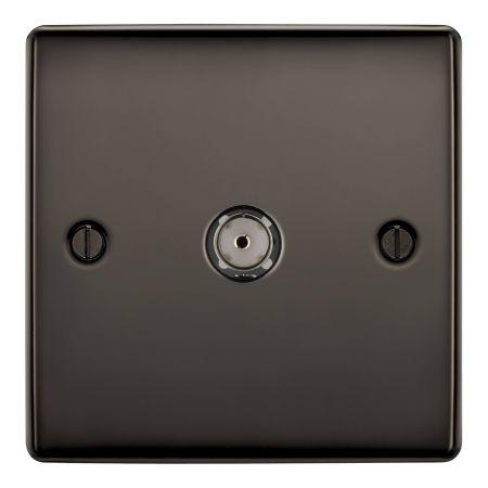 BG Nexus Metal Black Nickel 1 Gang Co-Axial Socket Outlet | NBN60