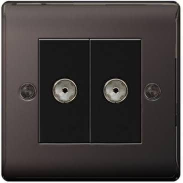 BG Nexus Metal Black Nickel 2 Gang Co-Axial Socket Outlet | NBN61