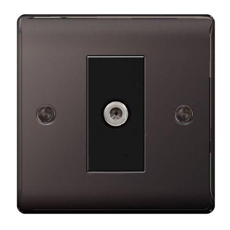 BG Nexus Metal Black Nickel 1 Gang Satellite Socket | NBN64