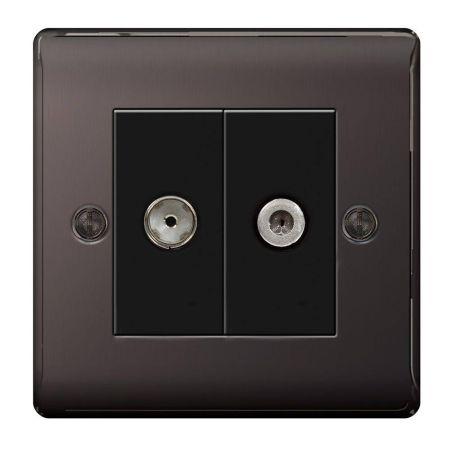 BG Nexus Metal Black Nickel Satellite & Co-Axial Socket Outlet | NBN65