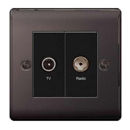 BG Nexus Metal Black Nickel Diplex TV/FM Socket Outlet | NBN66