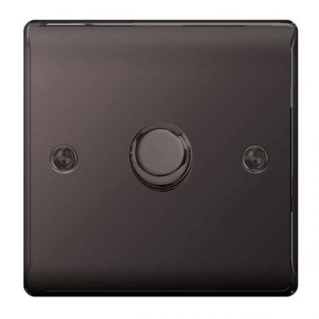 BG Nexus Metal Black Nickel 1 Gang 2 Way Push Type 400W Dimmer Switch   NBN81P
