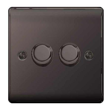 BG Nexus Metal Black Nickel 2 Gang 2 Way Push Type 400W Dimmer Switch   NBN82P