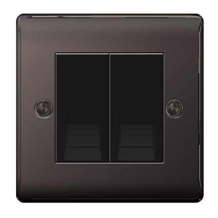 BG Nexus Metal Black Nickel Double Telephone Slave Socket | NBNBTS2