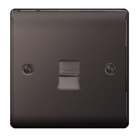 BG Nexus Metal Black Nickel Single Telephone Slave Socket | NBNBTS1
