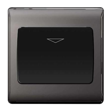BG Nexus Metal Black Nickel 16A Hotel Key Card Switch Grey Insert   NBNKYCSB