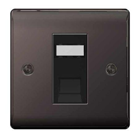 BG Nexus Metal Black Nickel Single RJ45 Data Socket | NBNRJ451