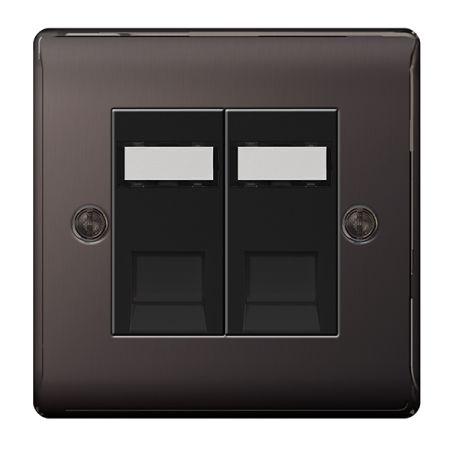BG Nexus Metal Black Nickel Double RJ45 Data Socket | NBNRJ452