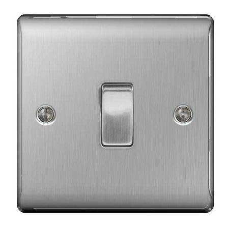 BG Nexus Metal Brushed Stainless Steel Intermediate Light Switch   NBS13
