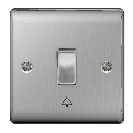 BG Nexus Metal Brushed Stainless Steel Bell Push Switch   NBS14