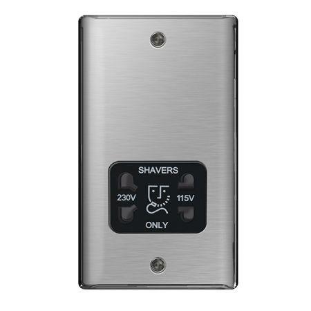 BG Nexus Metal Brushed Stainless Steel 115/230V Dual Voltage Shaver Socket Black Insert | NBS20B
