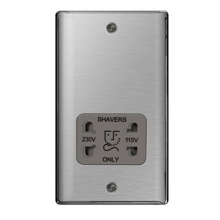 BG Nexus Metal Brushed Stainless Steel 115/230V Dual Voltage Shaver Socket Grey Insert | NBS20G