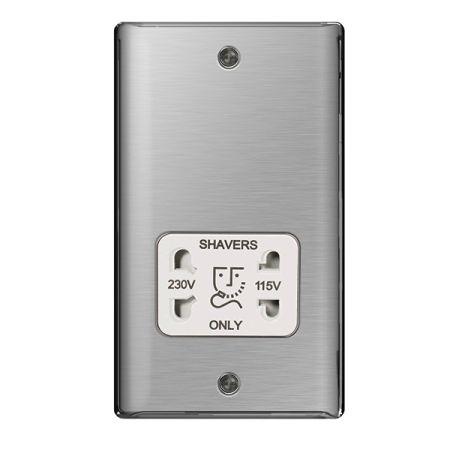 BG Nexus Metal Brushed Stainless Steel 115/230V Dual Voltage Shaver Socket White Insert | NBS20W