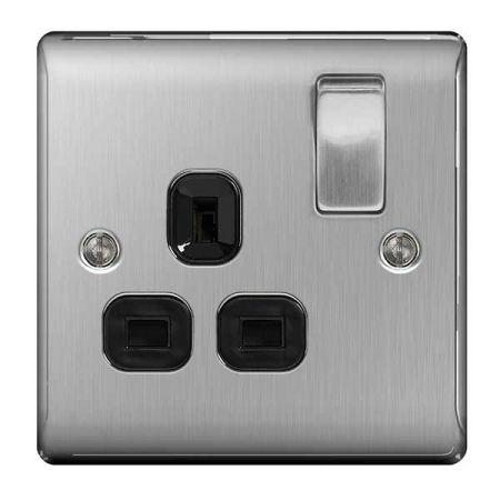 BG Nexus Metal Brushed Steel 13A 1 Gang Switched Plug Socket Black Insert   NBS21B