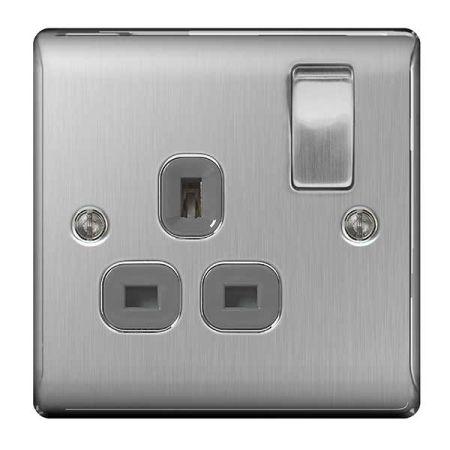 BG Nexus Metal Brushed Steel 13A 1 Gang Switched Plug Socket Grey Insert   NBS21G