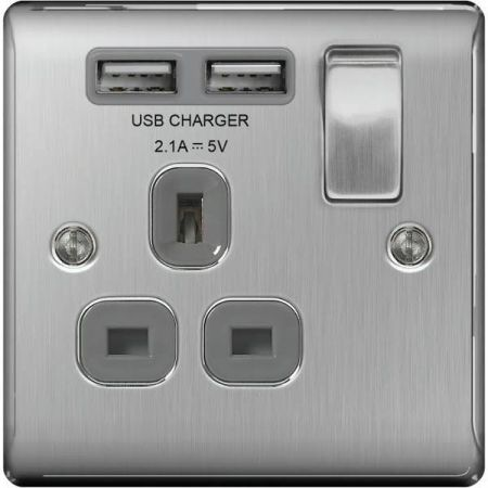 BG Nexus Metal Brushed Steel 13A 1 Gang Switched Plug Socket + 2 USB (2.1A) Grey Insert   NBS21U2G
