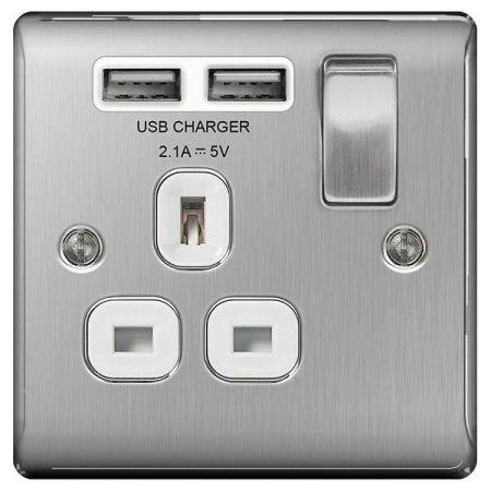 BG Nexus Metal Brushed Steel 13A 1 Gang Switched Plug Socket + 2 USB (2.1A) White Insert   NBS21U2W