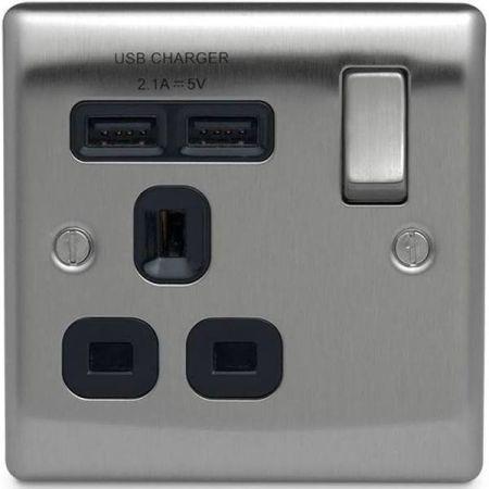 BG Nexus Metal Brushed Steel 13A 1 Gang Switched Plug Socket + 2 USB (2.1A) Black Insert   NBS21UB