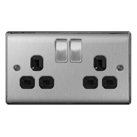 BG Nexus Metal Brushed Steel 13A 2 Gang Switched Plug Socket Black Insert   NBS22B