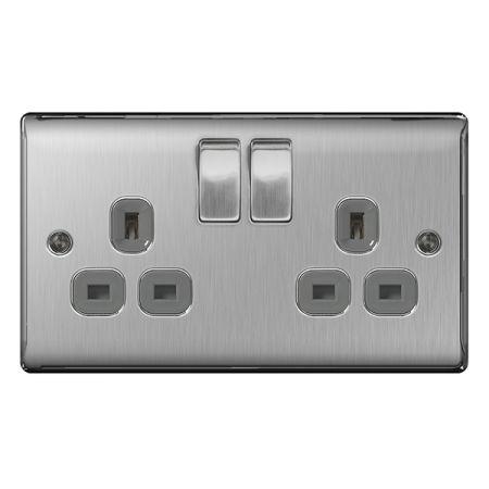 BG Nexus Metal Brushed Steel 13A 2 Gang Switched Plug Socket Grey Insert   NBS22G