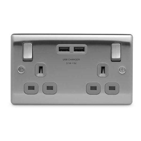 BG Nexus Metal Brushed Steel 13A 2 Gang Switched Plug Socket + 2 USB Grey Insert   NBS22U3G