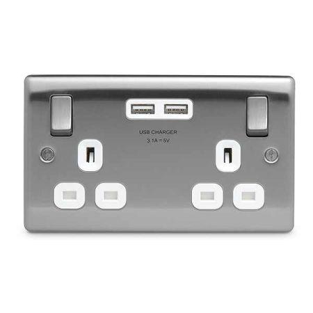 BG Nexus Metal Brushed Steel 13A 2 Gang Switched Plug Socket + 2 USB White Insert   NBS22U3W