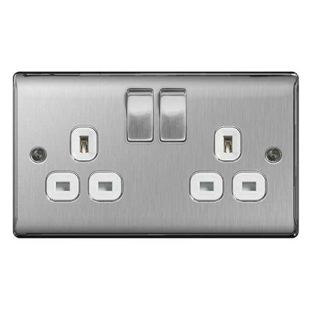 BG Nexus Metal Brushed Steel 13A 2 Gang Switched Plug Socket White Insert   NBS22W