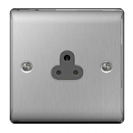 BG Nexus Metal Brushed Steel 2A UnSwitched Round Pin Plug Socket Grey Insert   NBS28G