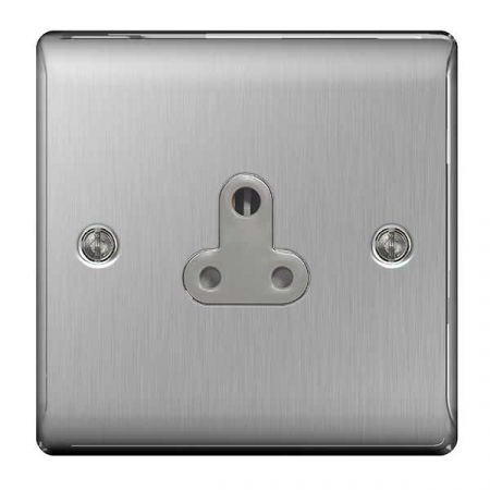BG Nexus Metal Brushed Steel 5A UnSwitched Round Pin Plug Socket Grey Insert | NBS29G