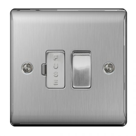 BG Nexus Metal Brushed Stainless Switched 13A Fused Connection Unit   NBS50