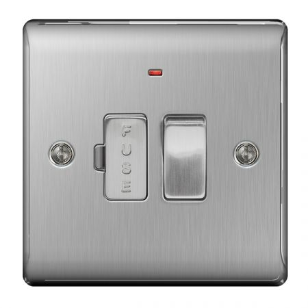 BG Nexus Metal Brushed Stainless Switched 13A Fused Connection Unit & Power Indicator   NBS52