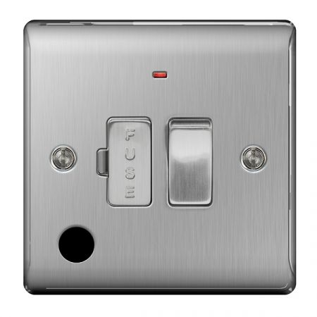 BG Nexus Metal Brushed Stainless Switched 13A Fused Connection Unit Indicator & Flex Outlet   NBS53