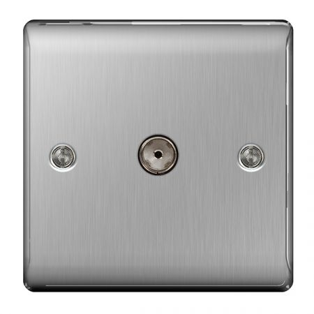 BG Nexus Metal Brushed Stainless Steel 1 Gang Co-Axial Socket Outlet | NBS60