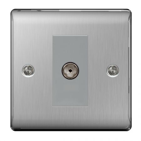 BG Nexus Metal Brushed Stainless Steel 1 Gang Isolated Co-Axial Socket Outlet | NBS62